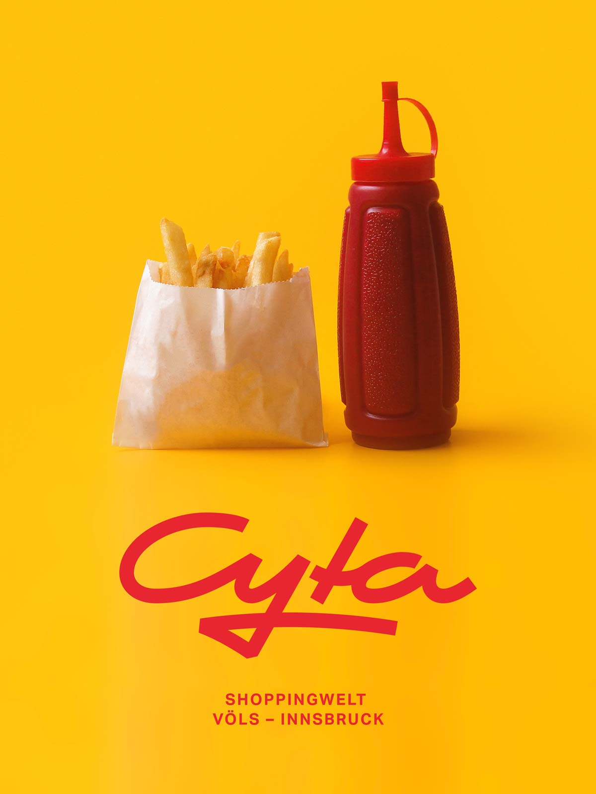 Cyta Shoppingwelt logo on photography of french fries and ketchup by Miguel Andrade from Unsplash