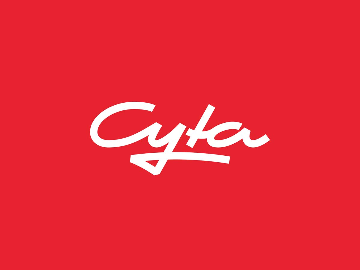 Cyta Shoppingwelt custom script logo redesign on red background